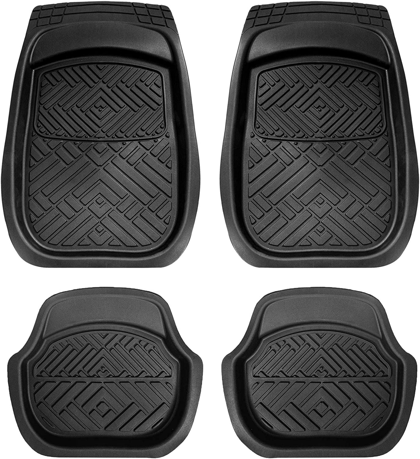 for Cars, Coupes, Small SUVs FH Group F13004BLACK Trimmable Liners Heavy Duty All-Season Car Floor Mats