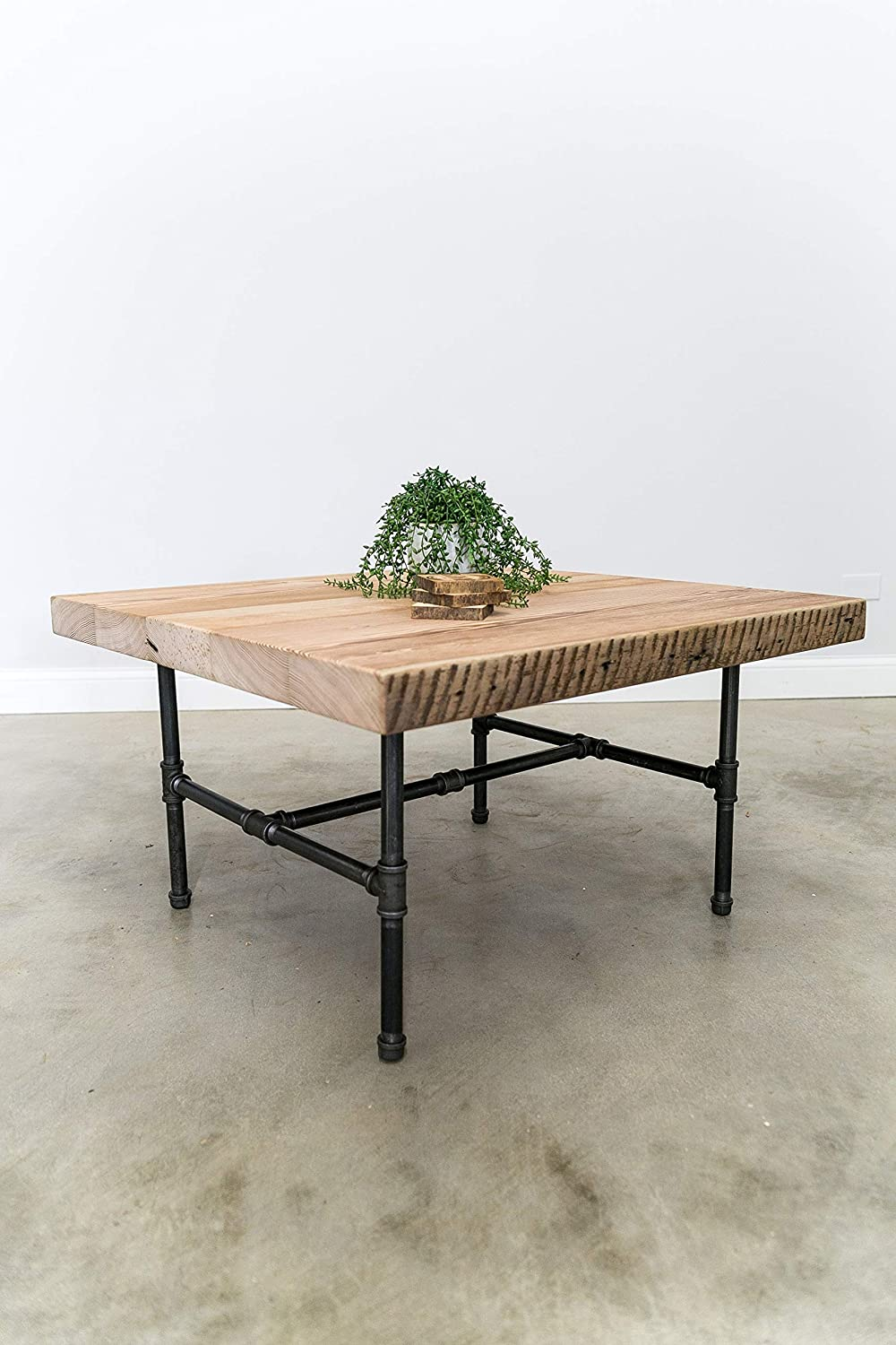 Amazon Com Square Coffee Table Made Of Reclaimed Wood And Iron Pipe Legs Reclaimed Wood Coffee Table Industrial Table Custom Designs And Sizes Welcome Made From Salvaged Barn Wood Fast Free Shipping