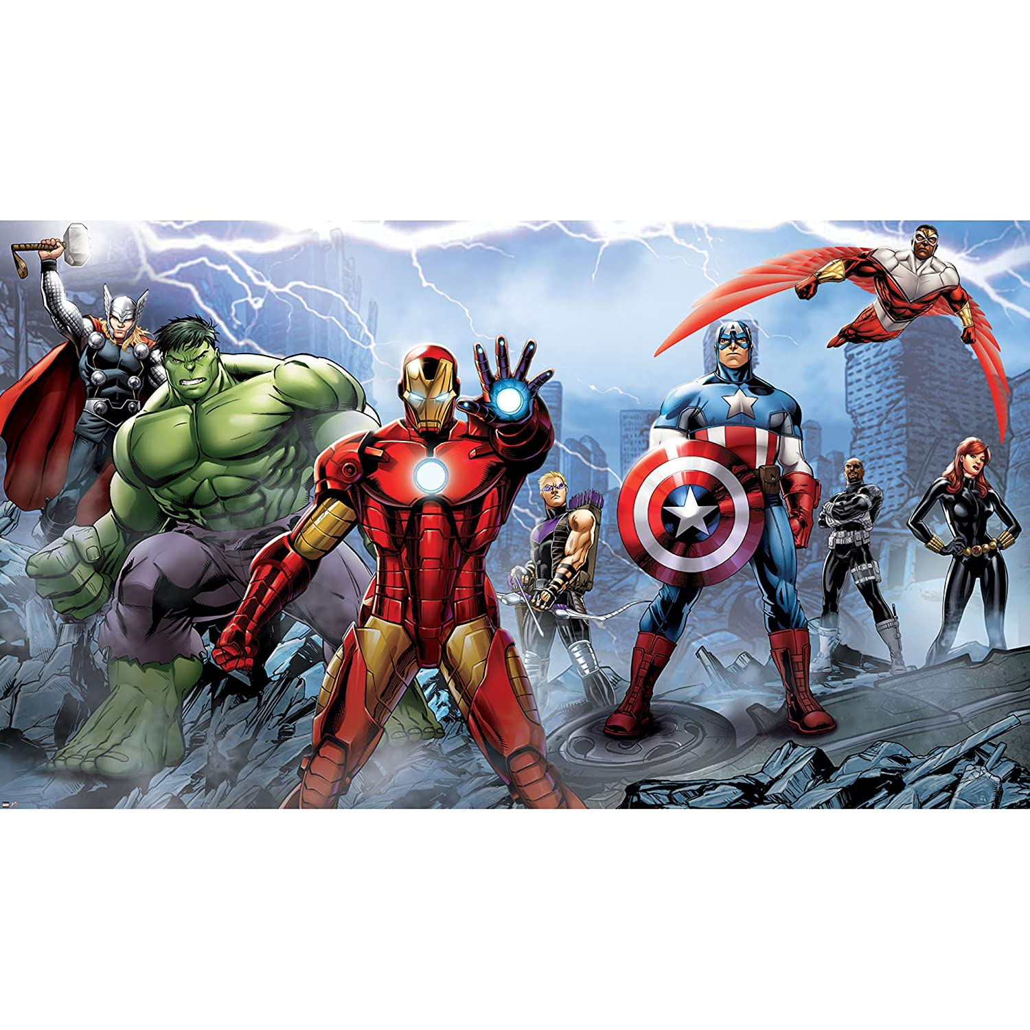 RoomMates JL1292M Ultra-Strippable Avengers Assemble Mural, 6-Feet x 10.5-Feet