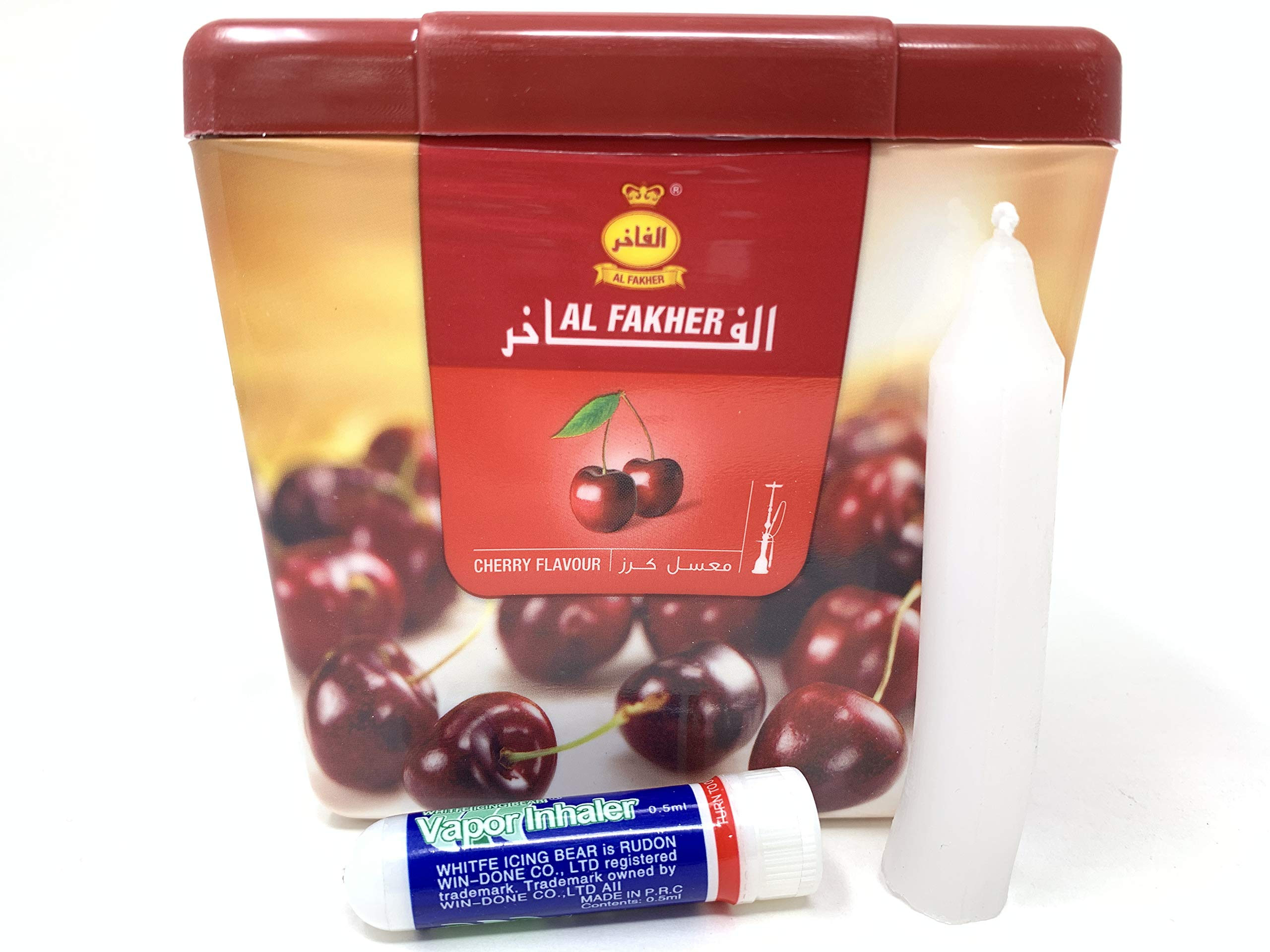 1 Kg. Al Fakher Shisha Molasses - Non Tobacco Cherry Flavour Hookah Water Pipe Sold by SuperStore77 with Trademark Candle and Vapor Inhaler