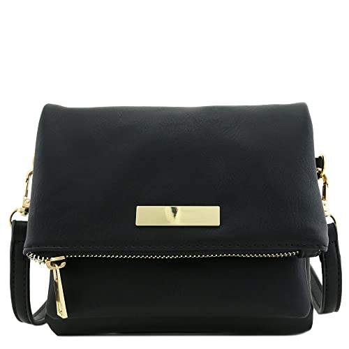 ebf78aac90ef Triple Compartment Mini Flap Crossbody Bag Black  Handbags  Amazon.com