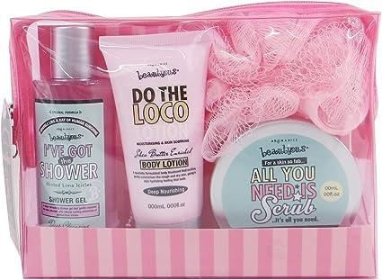 Gloss! - Caja de Baño - Pequeño Estuche de Baño para las Mujeres - Kit de Baño Juvenil - Beautyous - Karité, Vainilla y Mentha Citrata - 4 pzs/ 7 pzs, Rosa: Amazon.es: Belleza