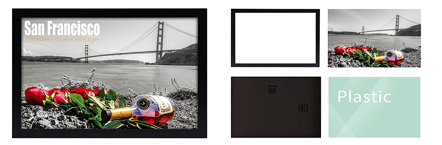 Frametory and Pictures Photos Hinged Sawtooth Hangers Landscape or Portrait Wall Display Great for Art Prints Swivel Tabs Smooth Molding 13x19 Black Poster Frame -Set of 2 Acrylic Cover