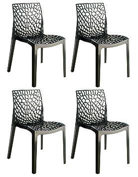 Meubletmoi Set de 4 sillas apilables de diseño Calado - Producto de Polipropileno de Alta Calidad y Confort - Collection GRUYER - Negro: Amazon.es: Hogar