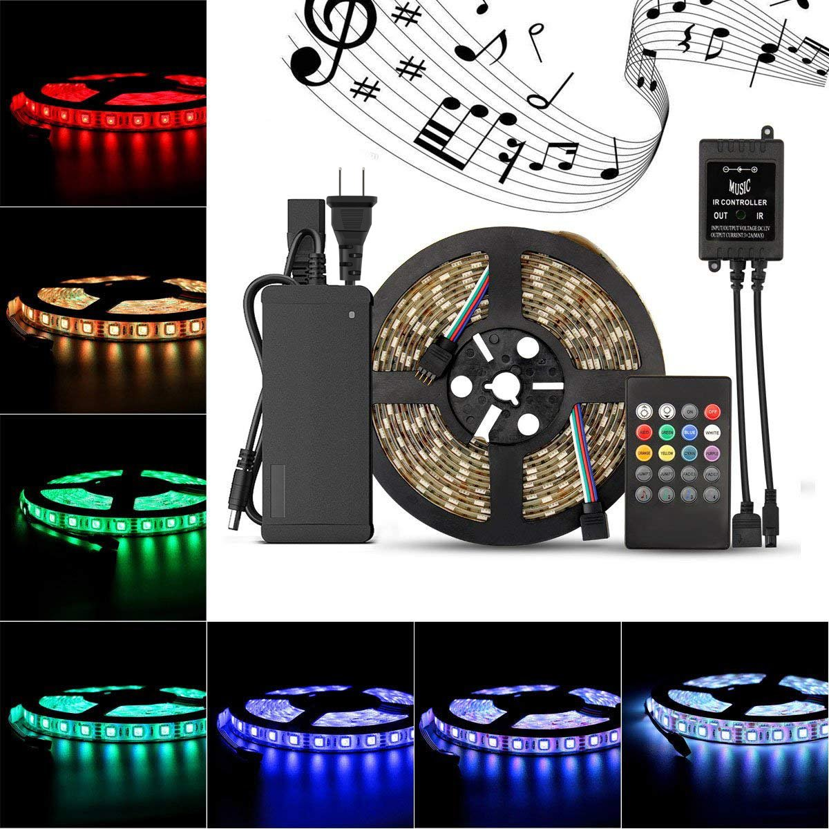 SUPERNIGHT 5M/16.4 Ft 5050SMD RGB Music Controlled 300 LEDS Strip Light Kit Waterproof Flexible LED Light with Music Controller Sound Sense Controller + 12V 5A Power Supply
