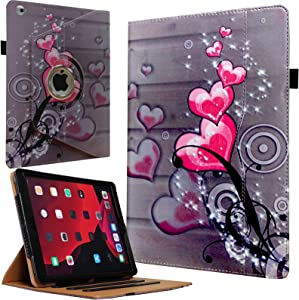 JYtrend Case for Old iPad 2(2011)/iPad 3(2012)/iPad 4(2012), Rotating Stand Wake up/Sleep Smart Cover with Pocket and Pen Holder for A1395 A1396 A1397 A1403 A1416 A1430 A1458 A1459 A1460(Heart Flower)