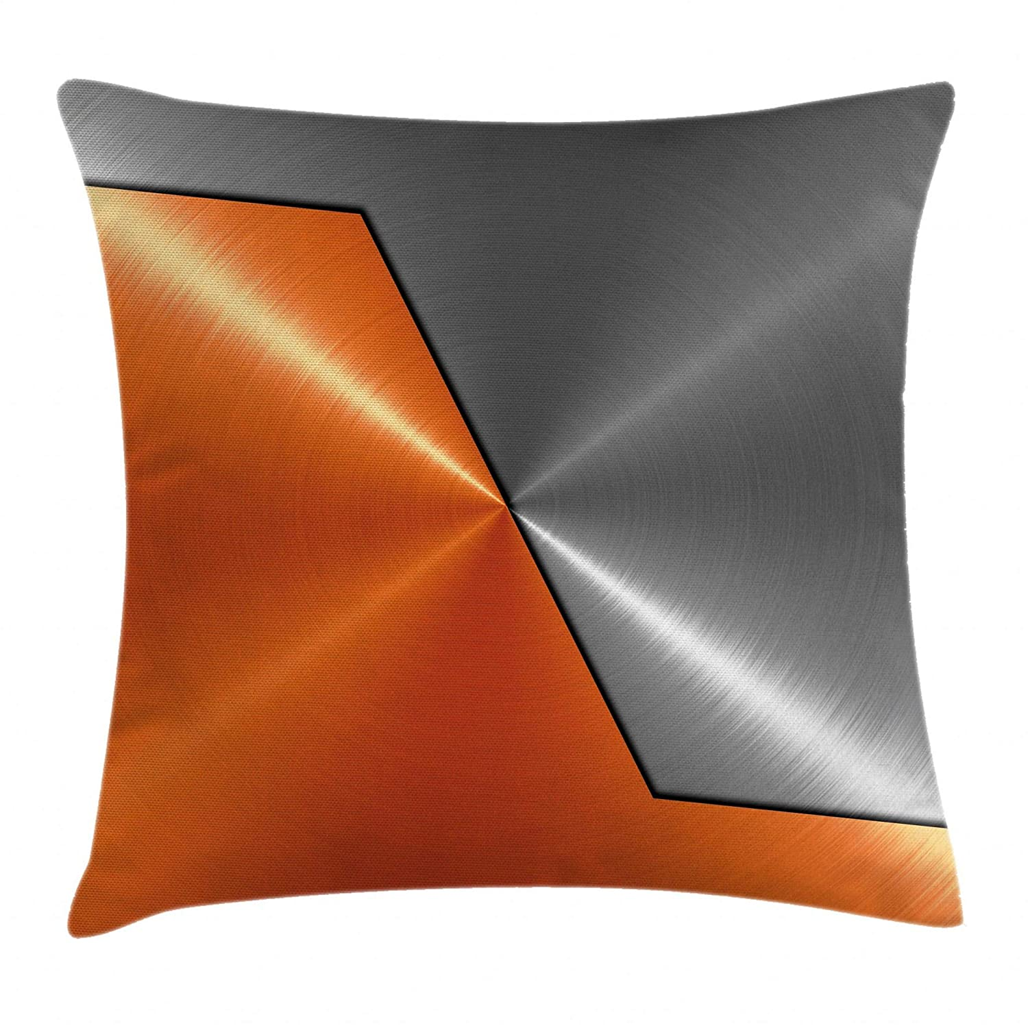 Amazoncom Ambesonne Orange And Grey Throw Pillow Cushion Cover 3d