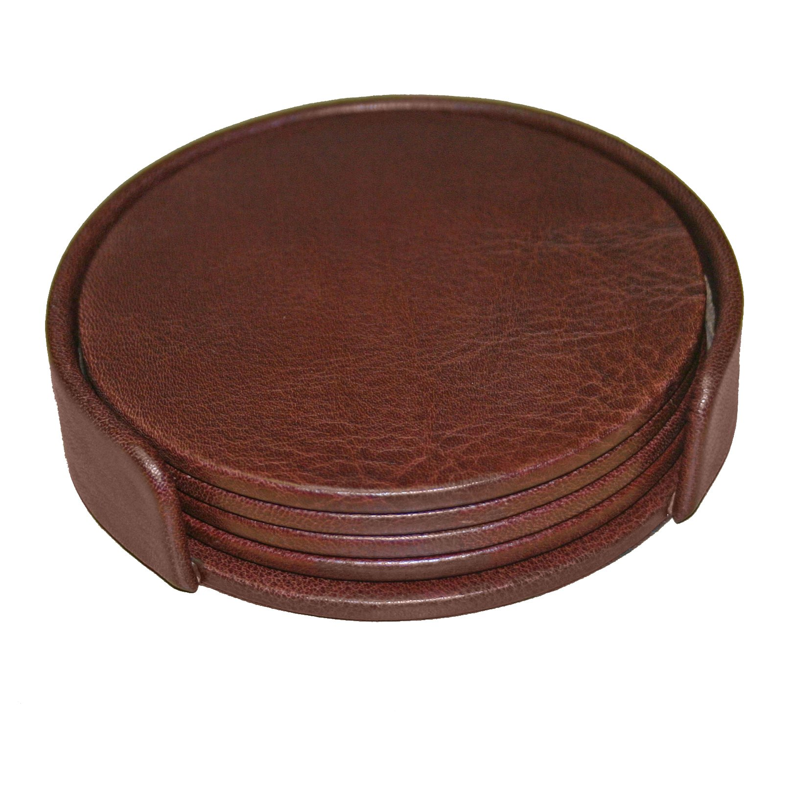 Dacasso Mocha Leather 4-Round Coaster Set by Dacasso