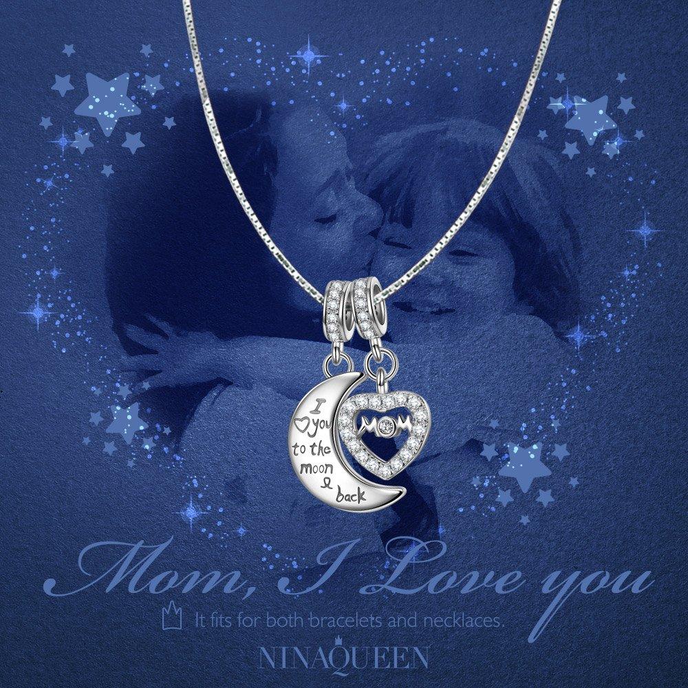 Bijoux pour Elle NINAQUEEN Femme Charm Pendant Lune et Coeur Argent Sterling 925 Compatible avec Charm Bracelet,/♥Cadeau f/ête des m/ères Sans Allerg/ène