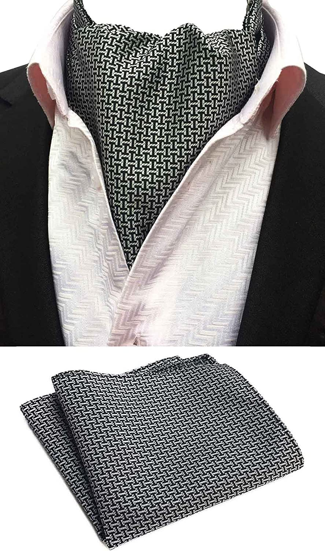 MOHSLEE Mens Black White Plaid Silk Suit Cravat Jacquard Woven Ascot Tie Necktie
