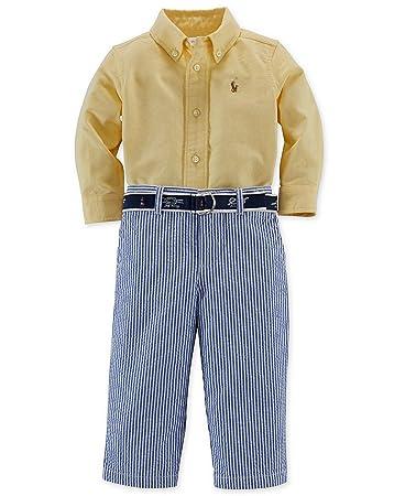 5f8b77695 Image Unavailable. Image not available for. Color  Ralph Lauren Polo Boys  Oxford Shirt   Seersucker Pants Belt Set ...