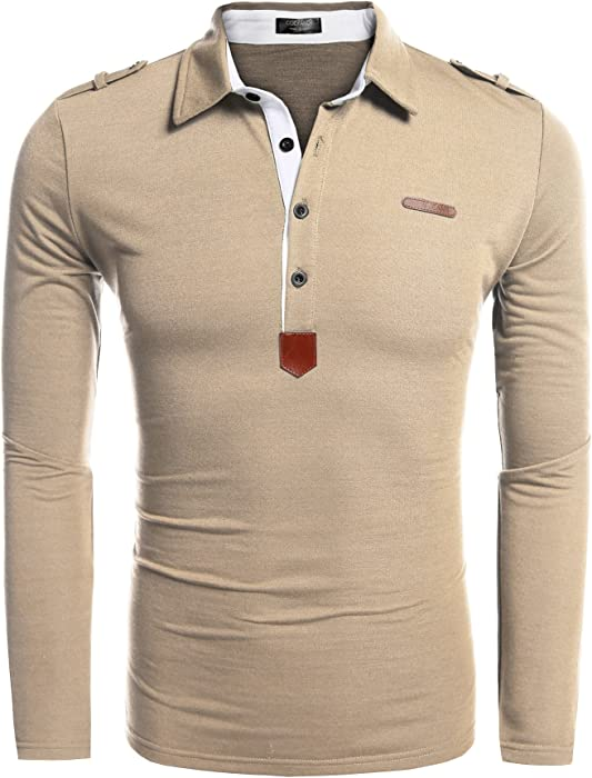f76f8292a54e Men s Long Sleeve Polo Shirt Casual Slim Fit Classic Golf Polo T Shirts