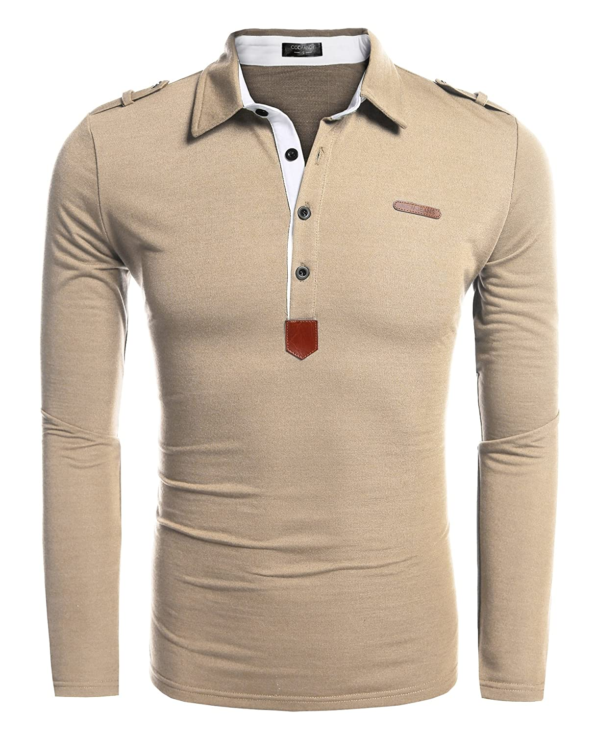 Coofandy Mens Long Sleeve Polo Shirt Casual Slim Fit Classic Golf Polo T Shirts