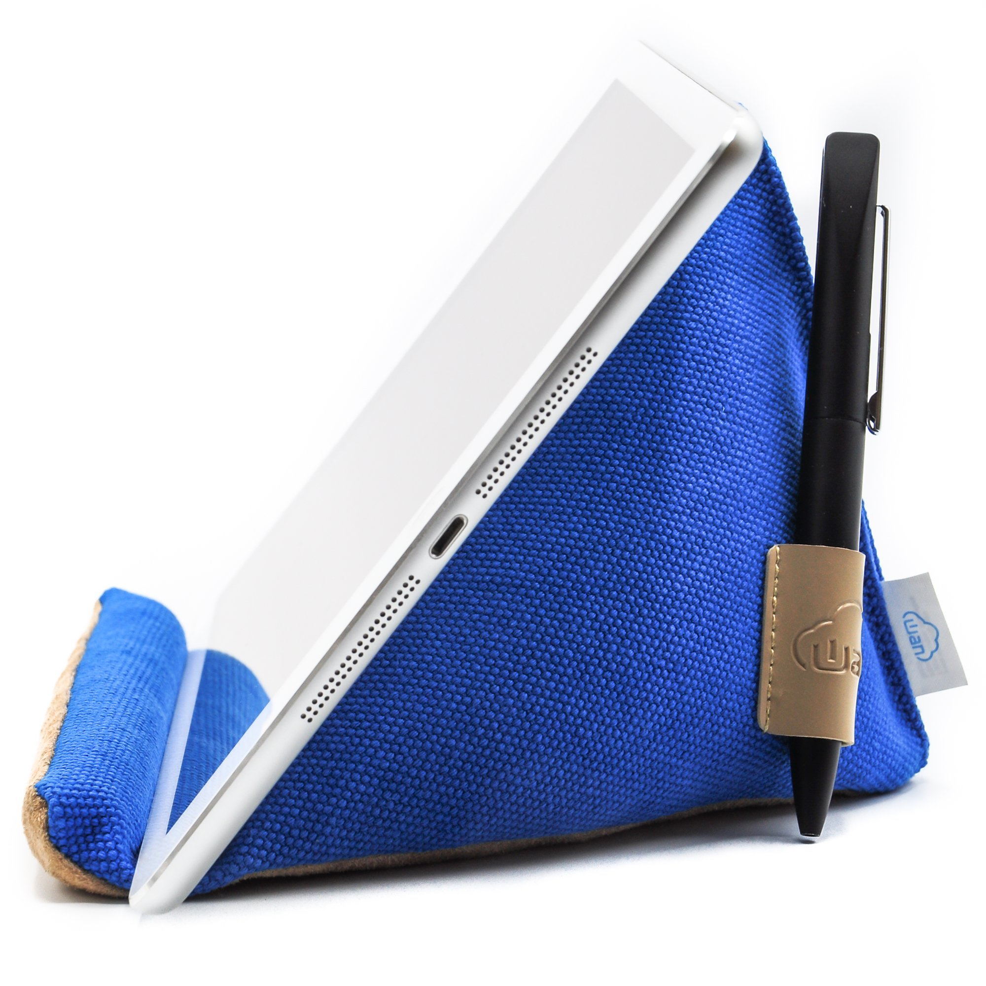 Natural Series - Extra-Stable Tablet Pillow Stand with Thick Canvas Fabric Outer and Heavy Bean Filling (Sapphire Blue)