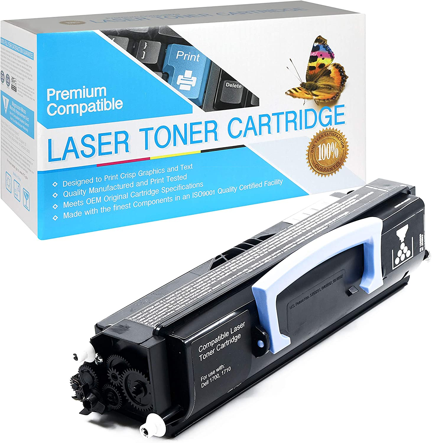 USA Advantage Compatible Toner Cartridge Replacement for Dell 1700/1710 / 310-5399/310-7023/310-5400/310-7025/310-5401/310-7038/310-5402/310-7039/310-7020/310-7040 (Black,1 Pack)