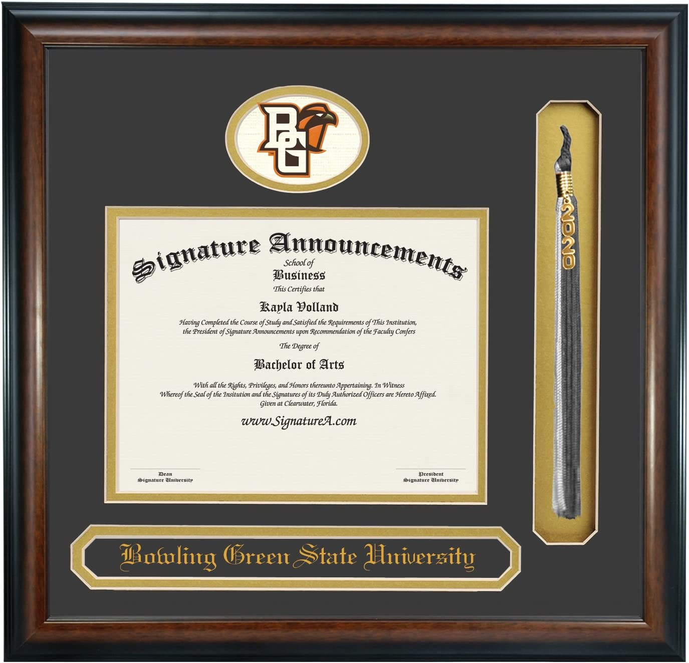 Amazon Com Signature Announcements Bowling Green State University Bgsu Undergraduate And Graduate Professional Doctor Graduation Diploma Frame With Sculpted Foil Seal Name Tassel Matte Mahogany 16 X 16 Home Kitchen
