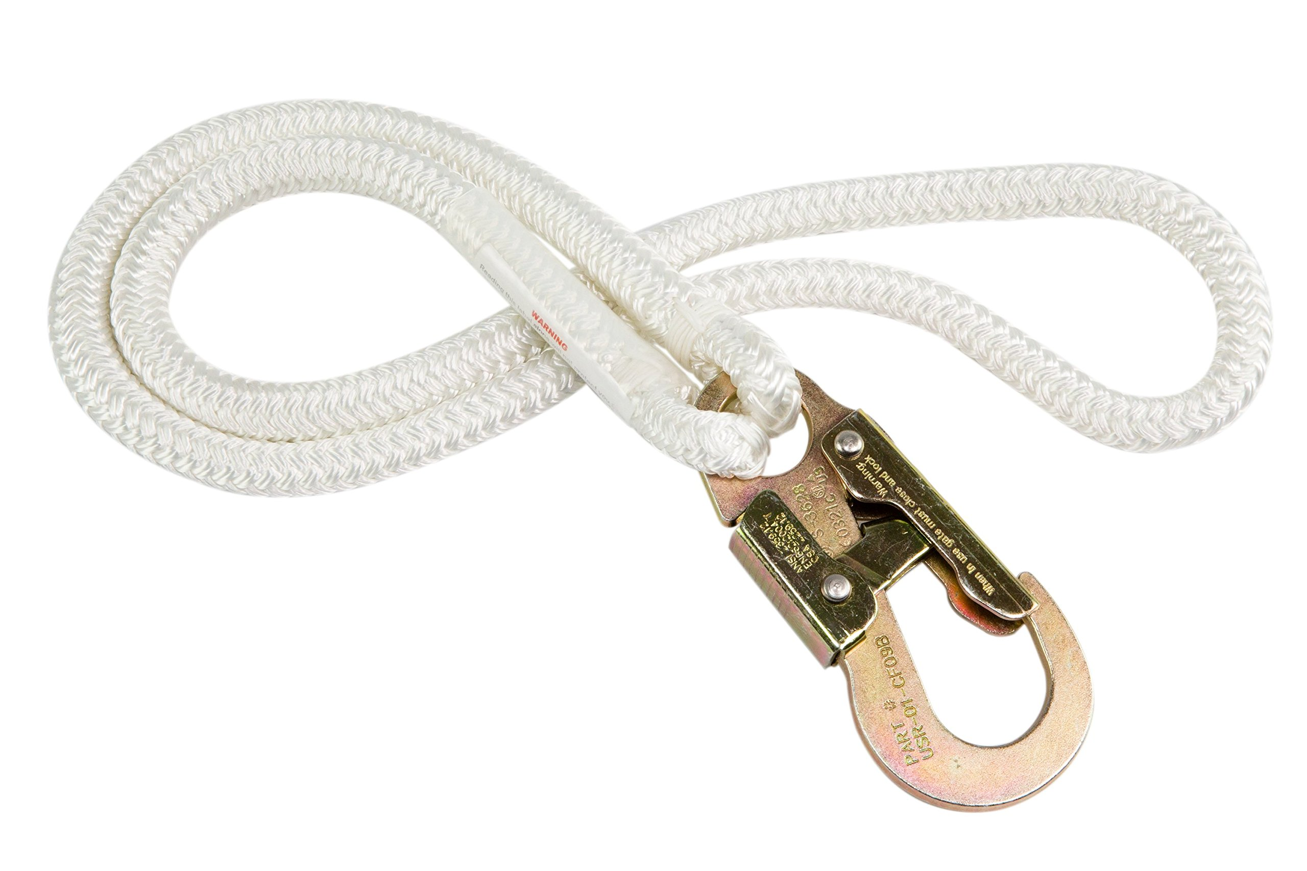Prusik Runner & Double-Lock Snap Hook (1/2 inch by 20 feet) - Double Braid Polyester Rope, Pre-Spliced, Flexible, Good Grip, Great Resistance - for Tree Contractors, Arborist Work