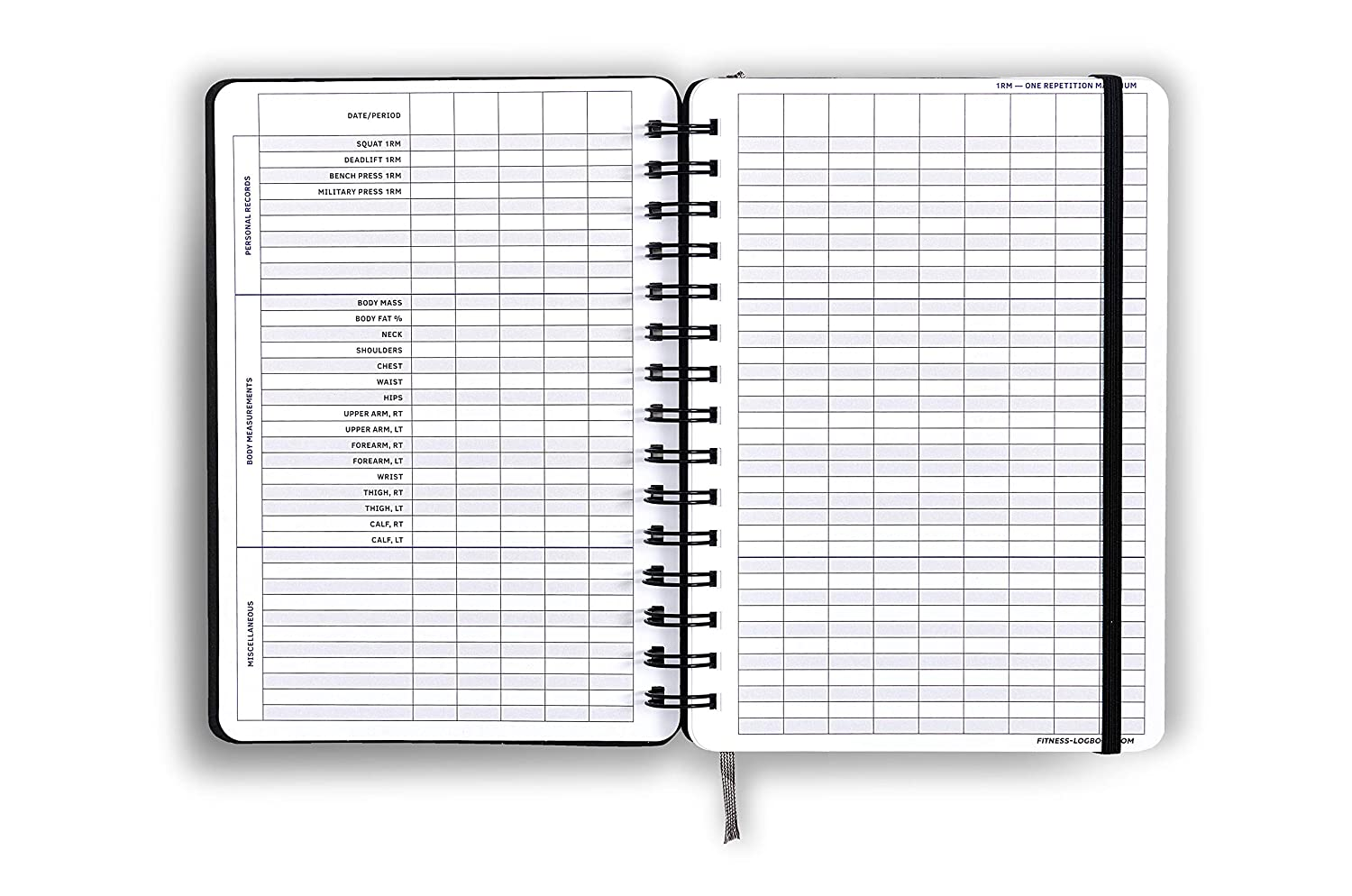 6 x 8 inches Fitness Logbook: Undated Workout Journal Stylish Elastic Closure Thick Paper Round Corners Minimalistic and Easy-to-Use Gym Log Book Hard Cover Sturdy Binding
