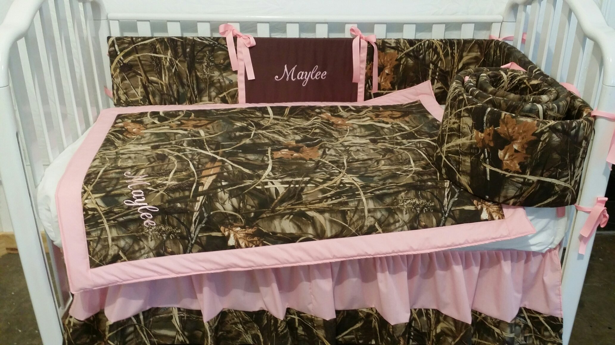 3 piece Max 4D or Max5D Duck Camouflage Crib Baby Bedding set Handmade Custom to order, Embroidered, personalized