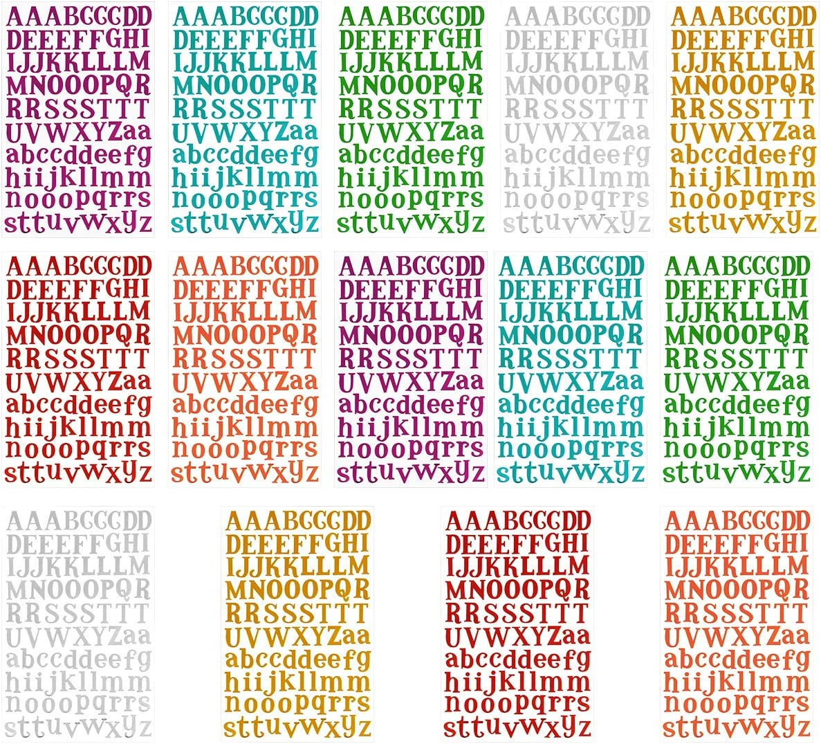 MADHOLLY 14 Sheets Letter Gift Alphabet Sticker Colorful Self Adhesive Letter