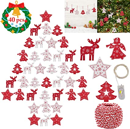 Wood Christmas Tree Decoration Christmas Wooden Hanging Ornaments Wood Clip