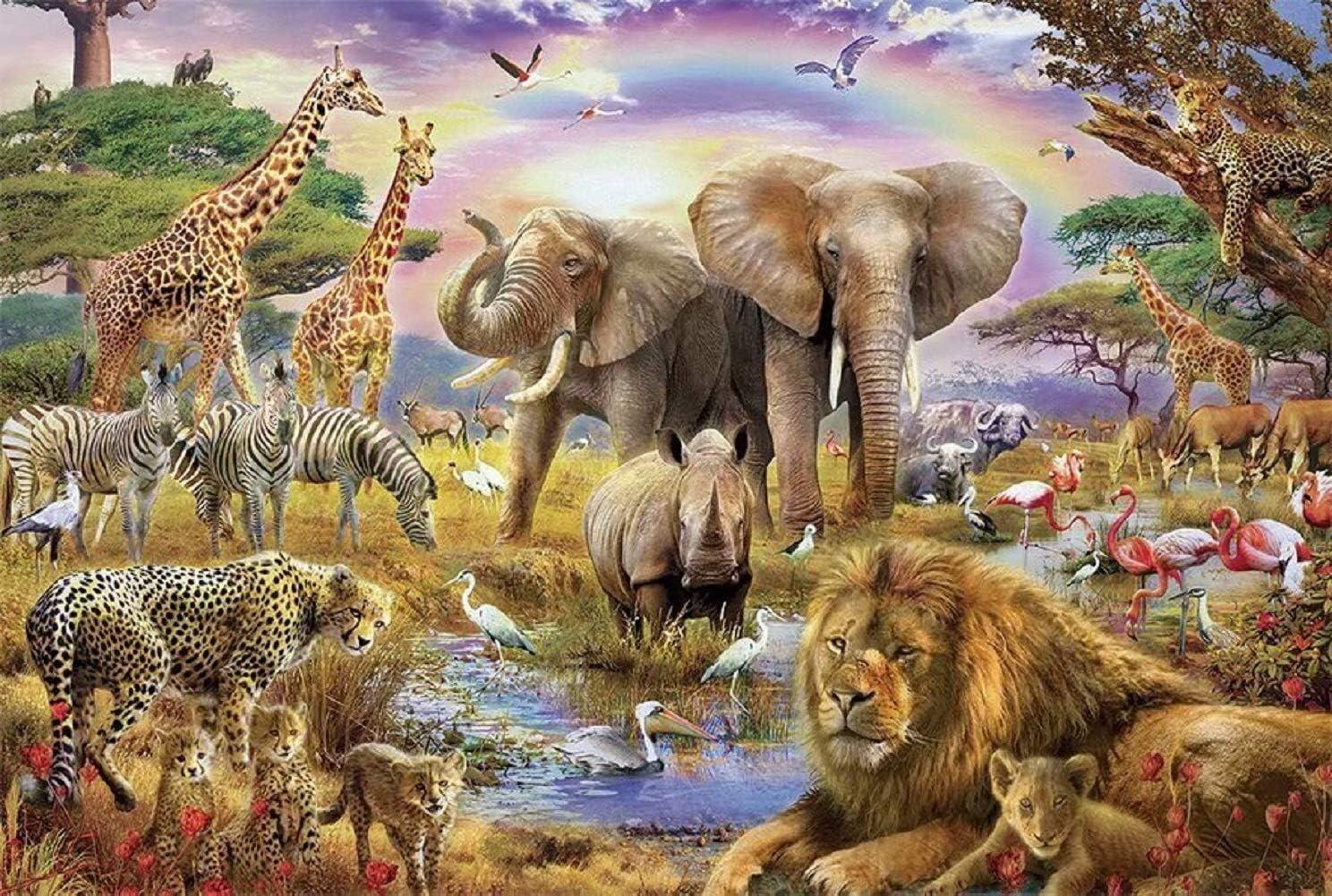 Animales de la selva africana Bestias del bosque Paisaje del atardecer del arco iris, Rompecabezas de madera for adultos Niños, 1000 Piezas for Boy Girl Friends Regalo Juguetes Juego Decoración del ho