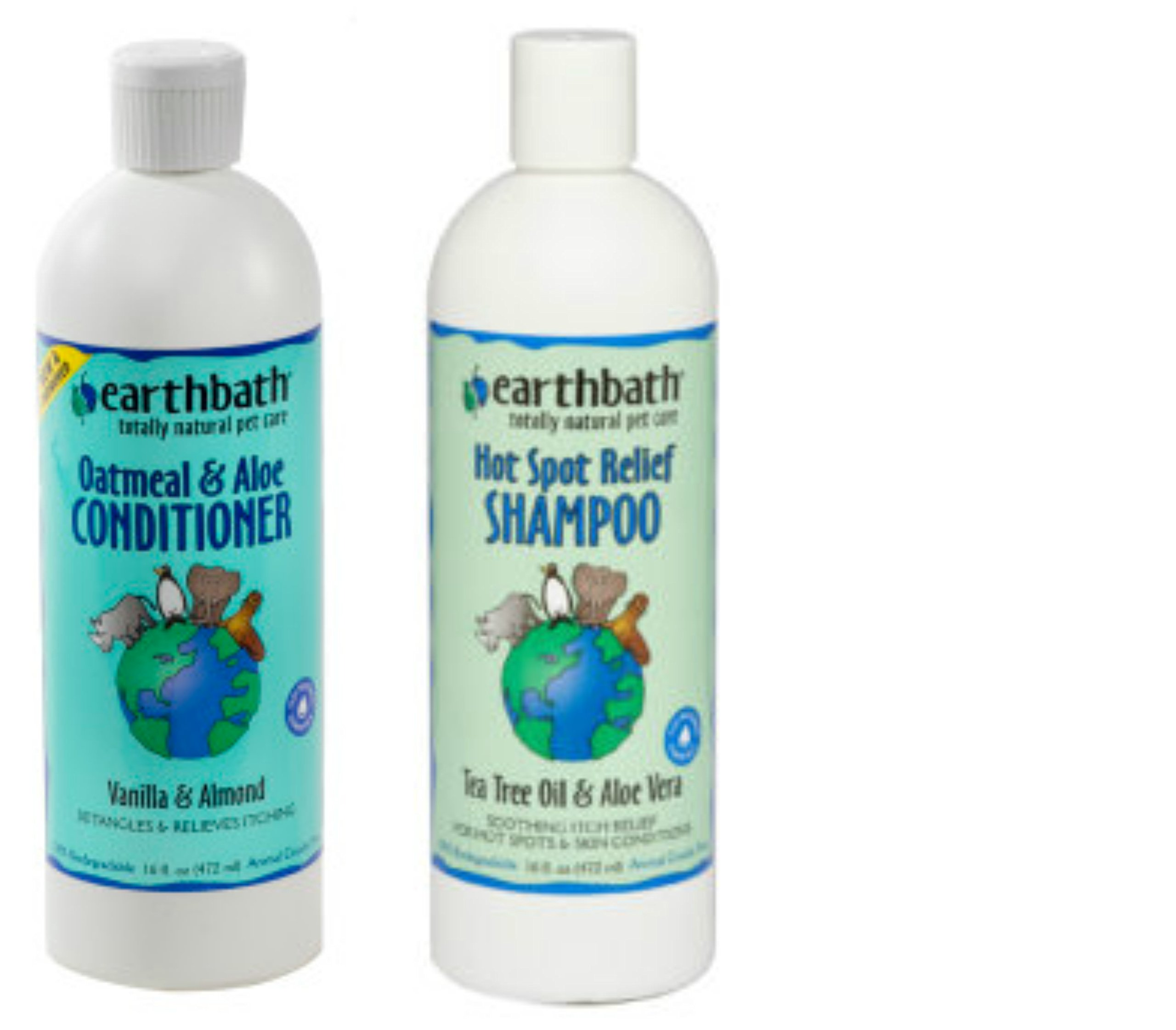 Earthbath Hot Spot Relief Tea Tree Oil and Aloe Vera Shampoo for Dogs and Cats, 16 oz, and Earthbath Oatmeal and Aloe Conditioner for Dogs and Cats, Vanilla and Almond Scent,16 oz