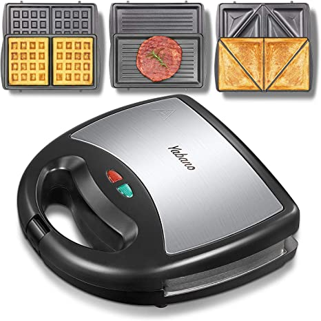 Cool Touch Handle 750W Panini Press Grill with 3 Detachable Non-stick Plates Easy to Clean LED Indicator Lights OSTBA Sandwich Maker 3-in-1 Waffle Iron
