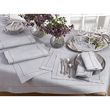 Occasion Gallery Grey Classic Hemstitched Design Polyester 84  Square Tablecloth, 1 piece.