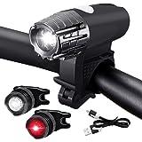 Jecoo Luces Bicicleta USB Delantera y Trasera inalámbricos, Luces para Bicicleta IPX5 Impermeable con 4 Modes, Linterna de Ai