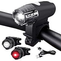 Jecoo Luces Bicicleta USB Delantera y Trasera inalámbricos, Luces para Bicicleta IPX5 Impermeable con 4 Modes, Linterna…
