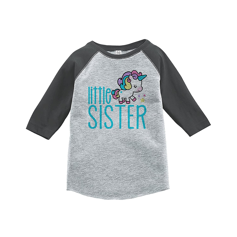 7 ate 9 Apparel Kids Little Sister Unicorn Raglan Tee Grey