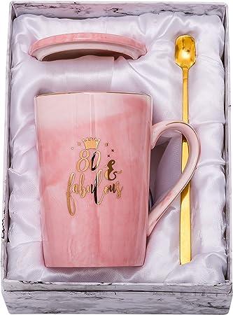 ShinnyWis 80 and Fabulous Mug - 80th Birthday Gifts for Womem