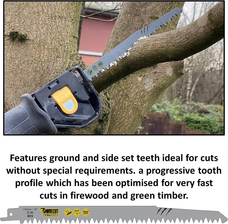 SabreCut SCRS1531L/_10 Lot de 10 lames de scie sabre pour bois 240 mm 5 TPI S1531L