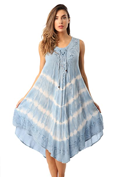 7d680639af Riviera Sun Acid Wash Tie Dye Summer Dress Beach Cover Up at Amazon ...