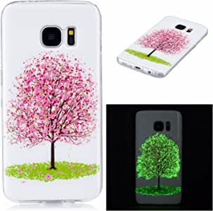 Luminous Case for Samsung Galaxy S7,Aoucase Soft Silicone TPU Flexible Shockproof Scratchproof Bumper Glow The Dark Cover Shell with Black Dual-use Stylus,Cherry Blossoms