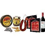 Lote Degustación de Embutidos.1 Queso de 900 gr aprox, 1 Bote de Morcilla León, 100gr. Fuetes, 1 bolsa picos pan, 1 chorizo Villacastín, 2 paquetes de Jamón Ibérico de 100gr. cada uno y 1 Botella de Vino Protos Ribera del Duero.