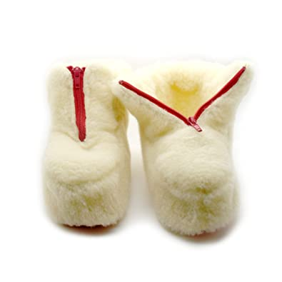 eedf708040a25 100% Cream Sheep Wool Boots Cozy Foot Slippers Soft Sole Sheepskin Womens  Mens