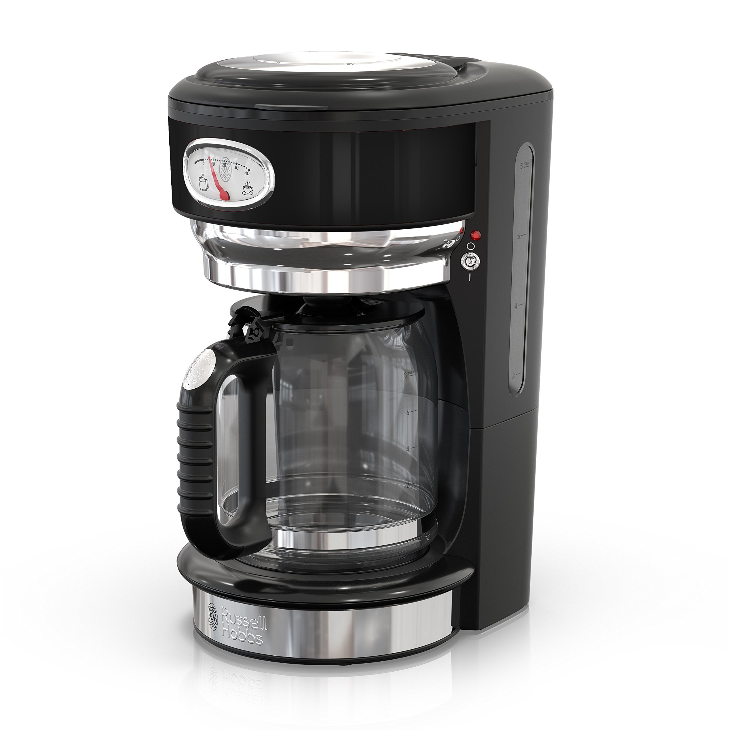 Russell Hobbs CM3100BKR Retro Style Coffeemaker, 10-Cup, Black And Stainless Steel