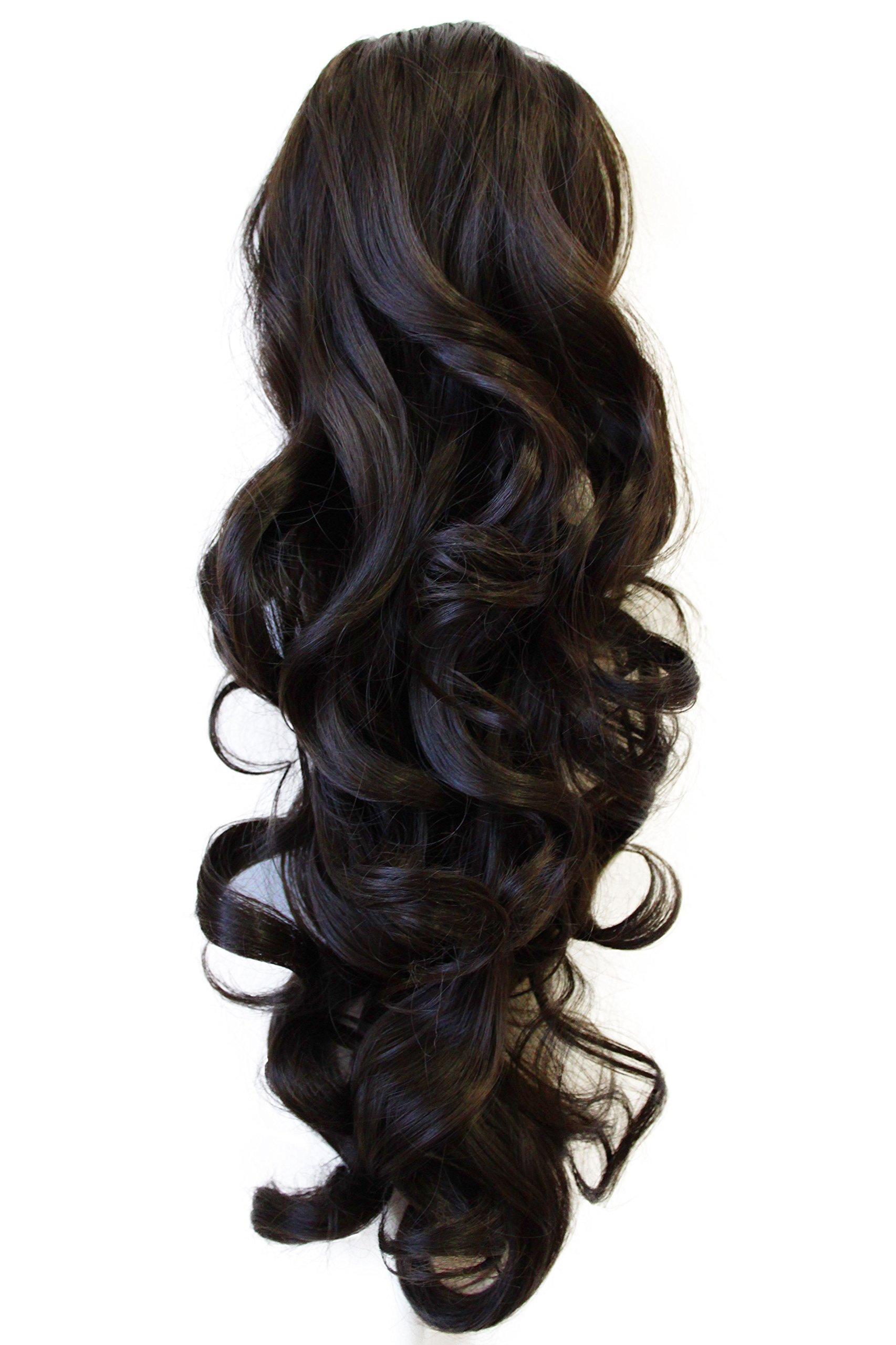 22'' & 150g Hair Piece Pony Tail Extension (DARK BROWN CHOCOLATE) Very Long & Voluminous Curled Wavy Heat-Resisting