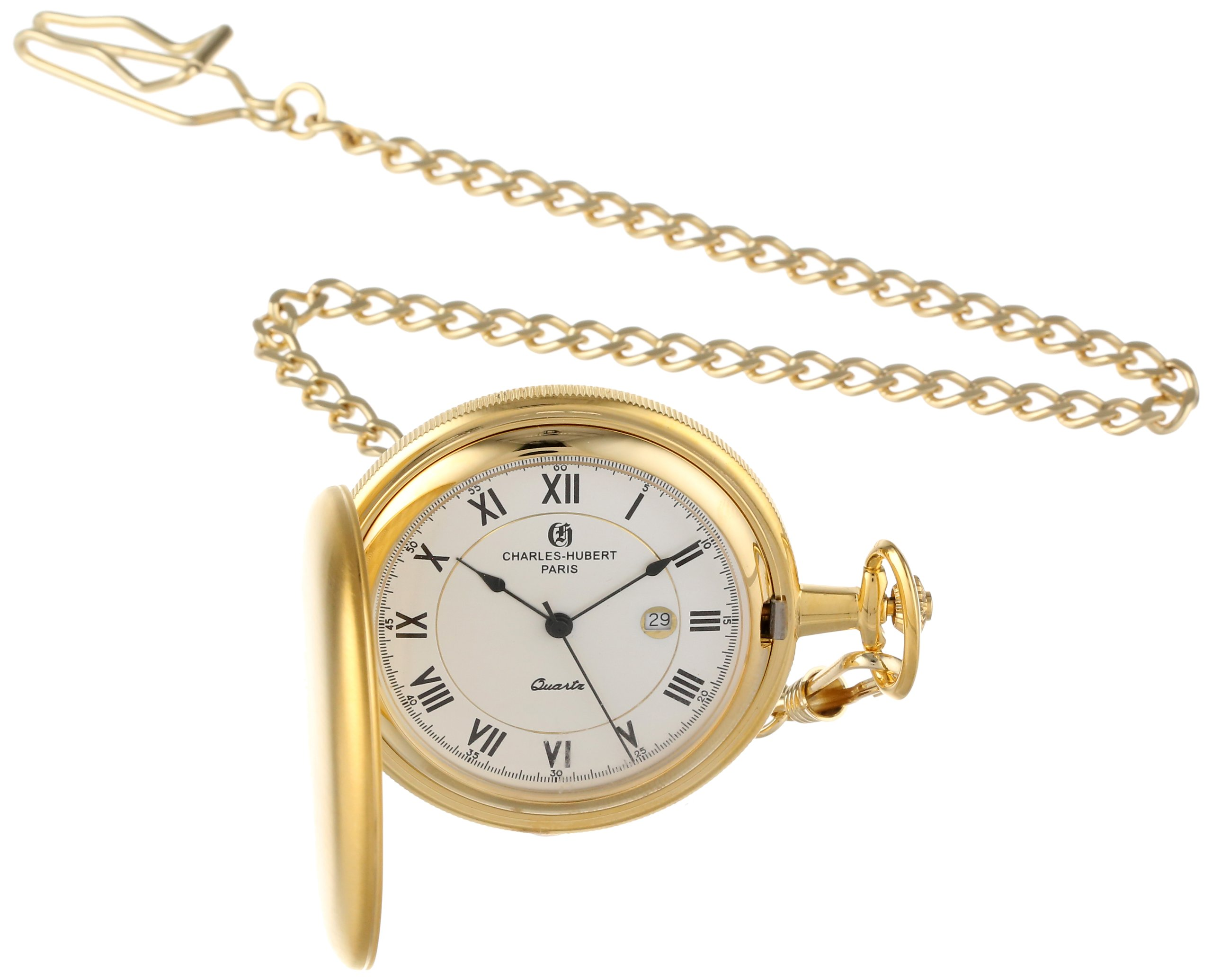 Charles-Hubert, Paris 3939 Classic Collection Gold Plated Brass Pocket Watch by CHARLES-HUBERT PARIS