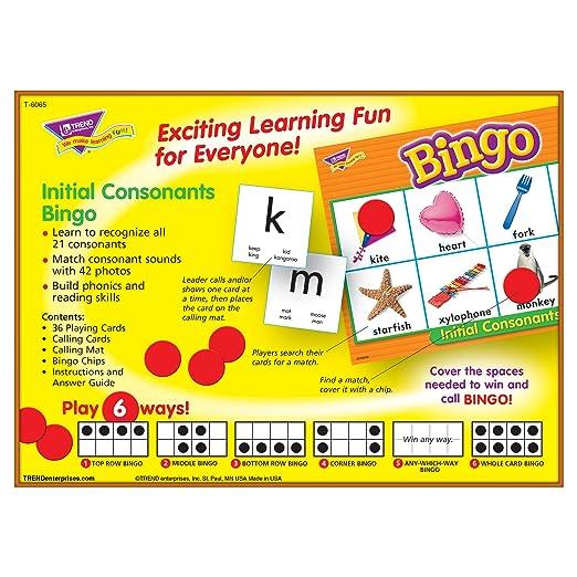 Amazon.com: Initial Consonants Bingo Game Board Game: Toys & Games