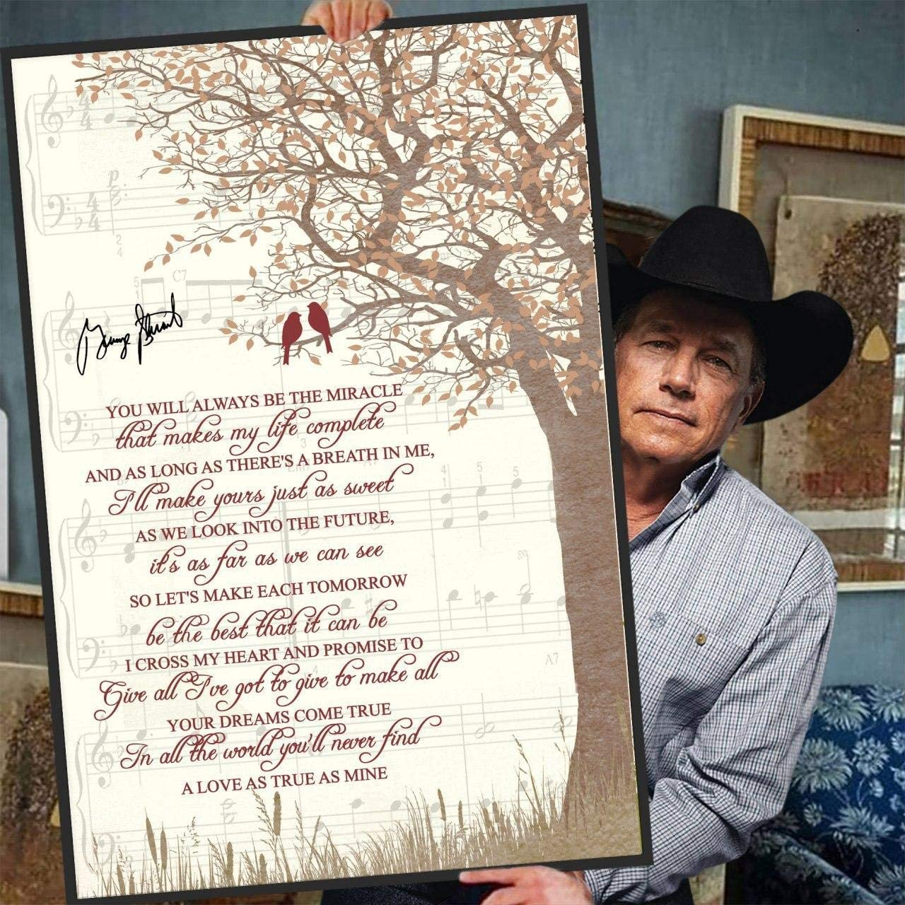 George Strait - I Cross My Heart Lyrics Music Wall Decor Poster (Canvas Framed, 11 x 14)
