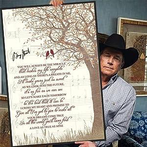 George Strait - I Cross My Heart Lyrics Music Wall Decor Poster (Canvas Framed, 11 x 14)