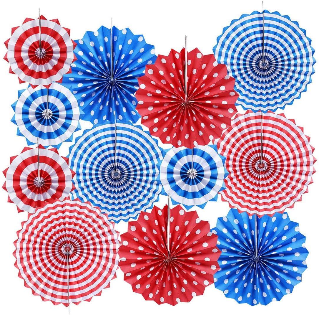 Patriotic Party / 4th of July Colorful Hanging Paper Fans Rosettes Party Decorations Fiesta Party Supplies Photo Props for Wedding Birthday Baby Shower Event, White Blue and Red Set of 12