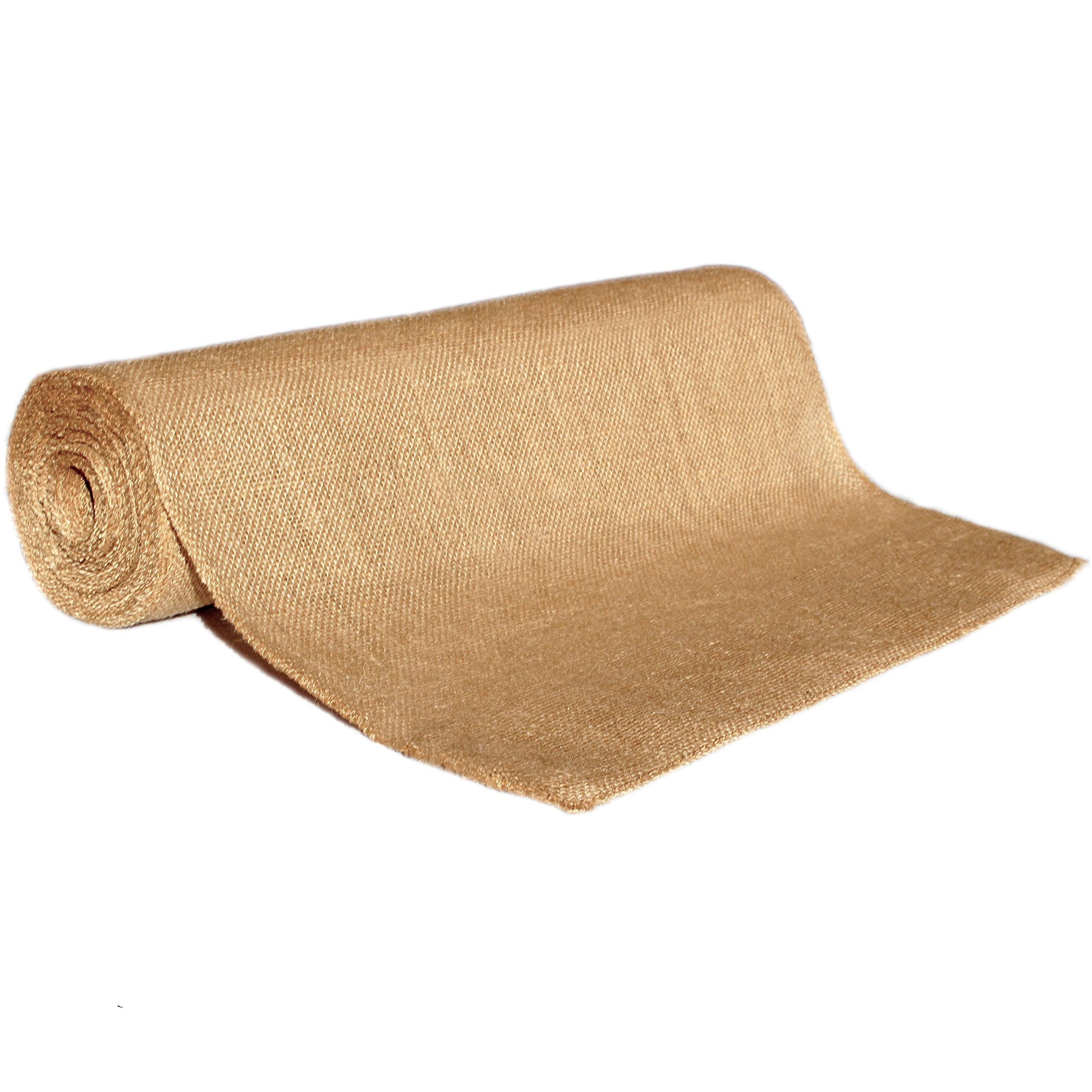 RichCraft Wide 18'' Burlap Table Runner Roll, NO-FRAY NO-Mess ~ 18'' Wide x 10 Yards Long Table Runner Fabric w/Finished Edges. Perfect for Weddings, Placemat, Crafts. Decorate Without The Mess!