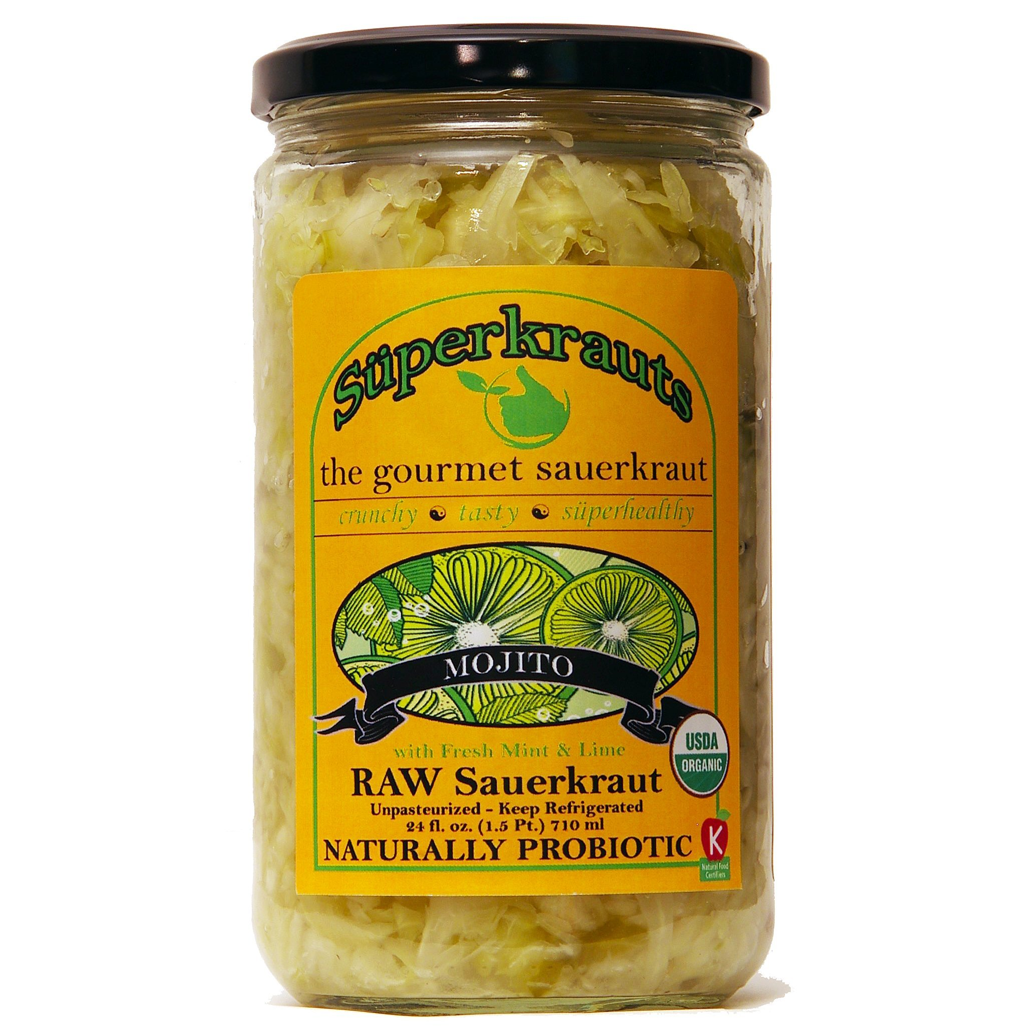 """""""Mojito"""" gourmet sauerkraut: organic, raw fermented, unpasteurized, probiotic, kosher, vegan and gluten free. 24 fl. oz, 16 flavors available. No shipping charges with minimum."""