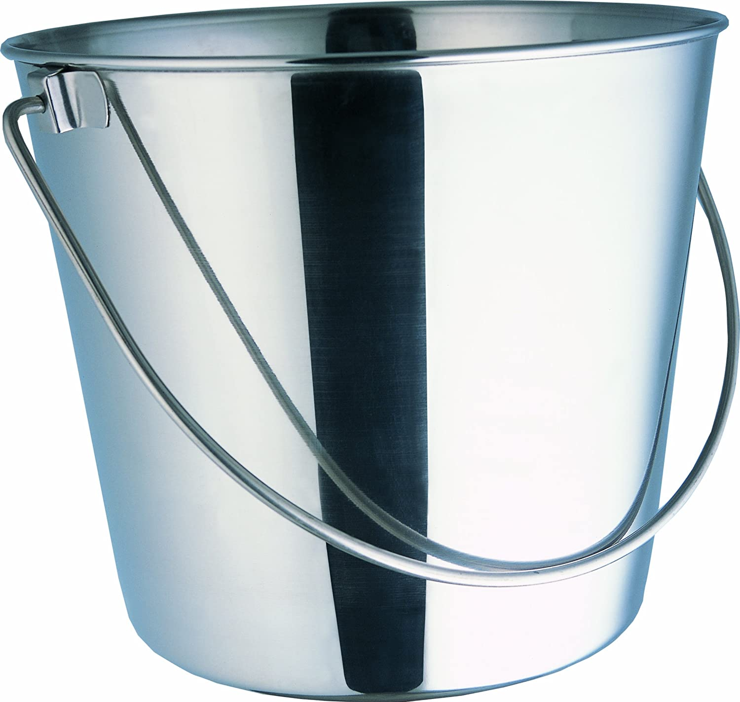 Indipets Heavy Duty Stainless Steel Pail - 2 Quart - Durable Dog Food and Water Storage