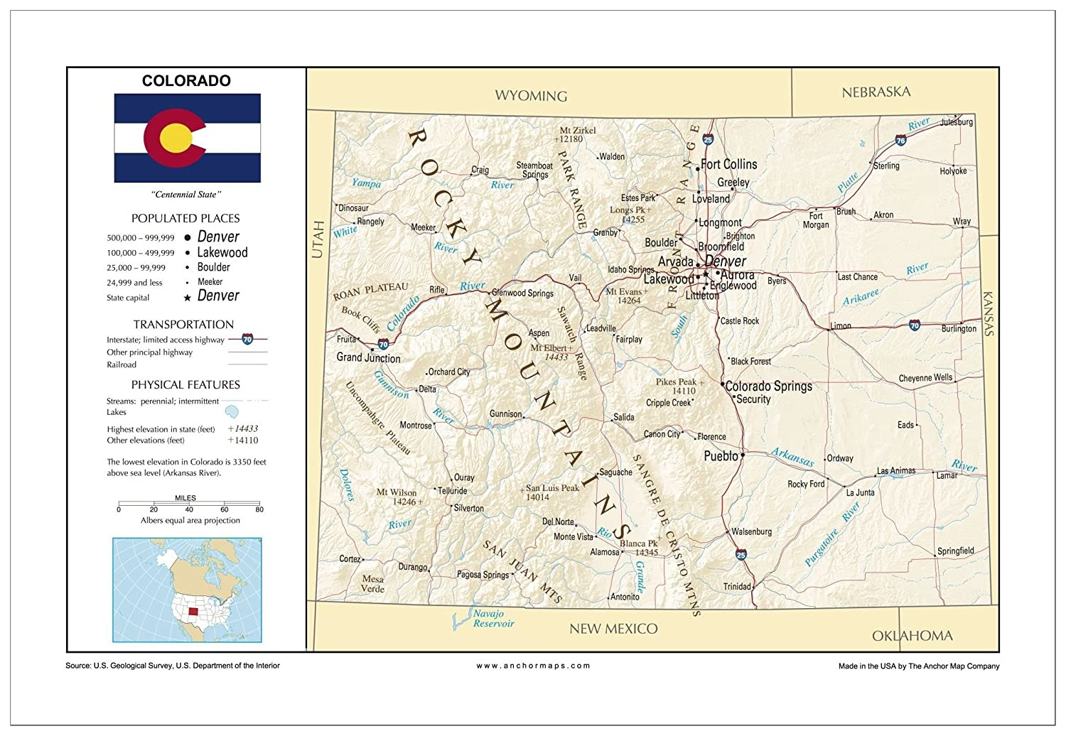 Akron Colorado Map.Amazon Com 13x19 Colorado General Reference Wall Map Anchor Maps