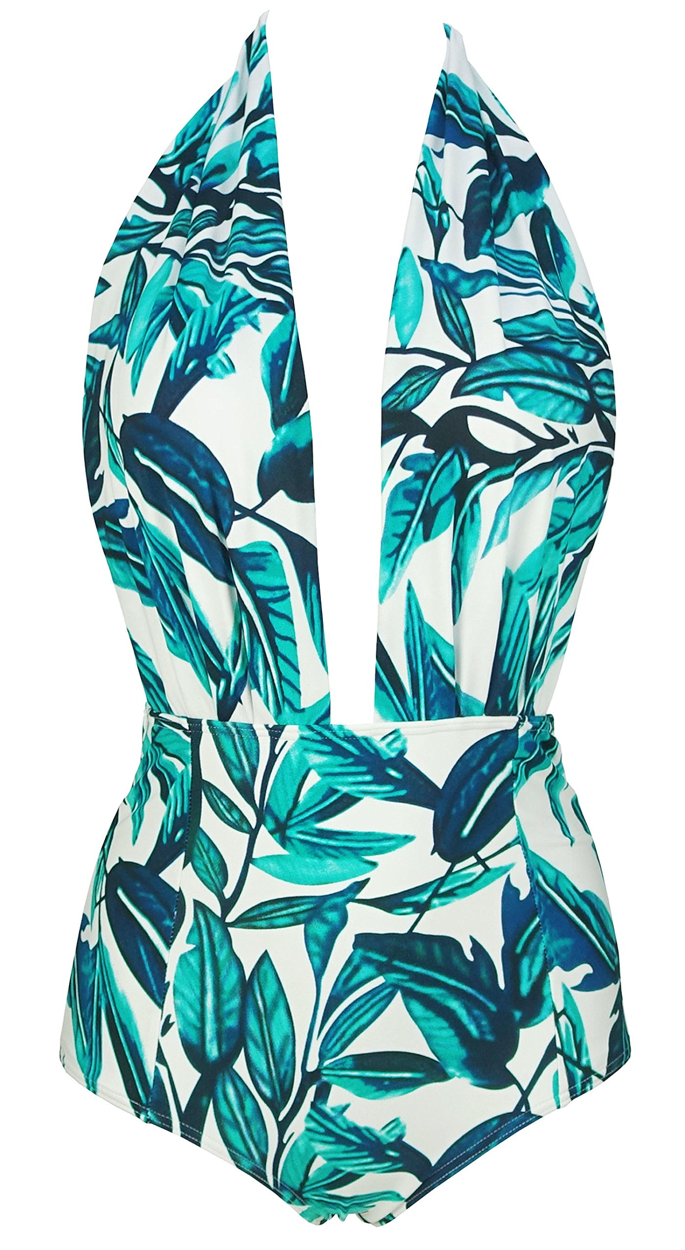 5bc406615aa Galleon - COCOSHIP Blue Green   White Forest Leaves Deep V Neck Vintage One  Piece Backless Bather Swimsuit Pin Up Swimwear Beachwear XXL
